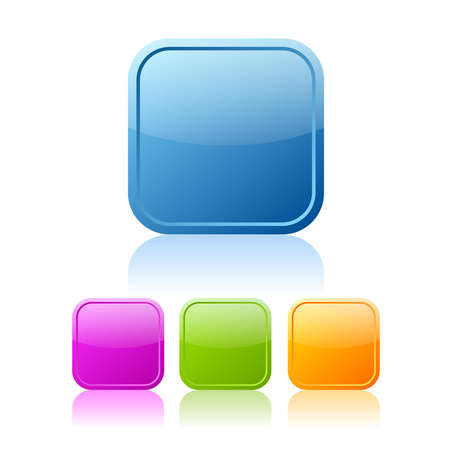 Square buttons set, vector clip art Stock Vector - 19375855