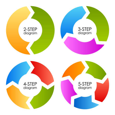 Ciclo proceso diagramas conjunto, ilustración vectorial