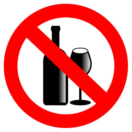 liquor: No alcohol vector sign Illustration
