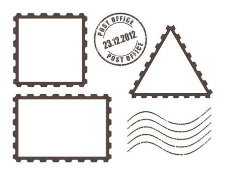 tarjeta postal: Blanco sellos de correos, ilustración vectorial