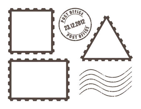Blank post stamps, vector illustration Vector