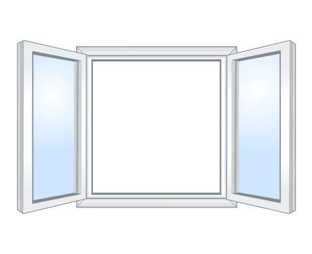 wooden window: Wide open window, vector illustration