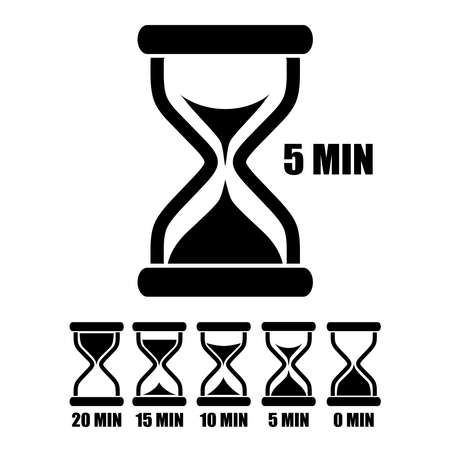 hour glasses: Vector sand glass timer Illustration