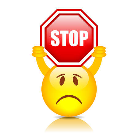 stop sign: Smiley with stop sign, vector illustration