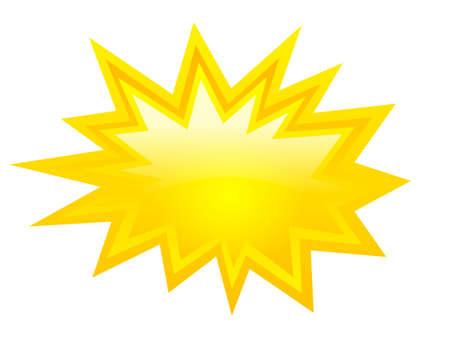 Žlutá ikona prasknutí, vektorový klipart