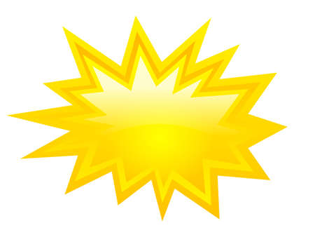 sunburst: Yellow bursting icon, vector clip art