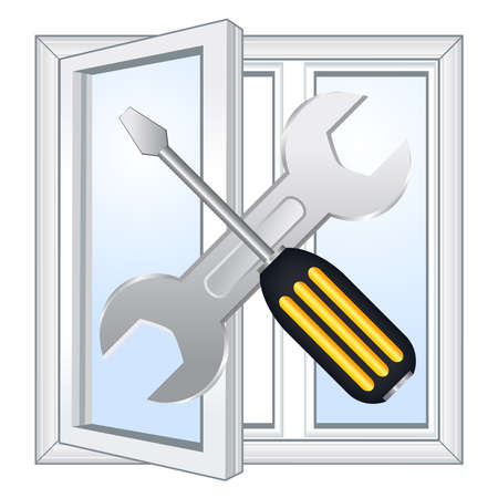 Window repair workshop emblem Vector