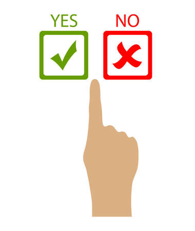 yes button: Choose yes or no, vector clip art