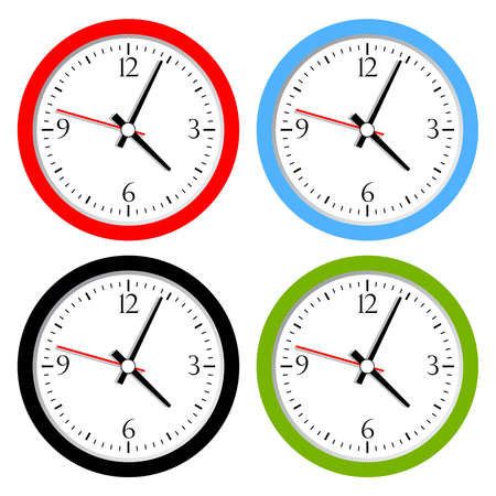 hands  hour: Vector clock collection Illustration
