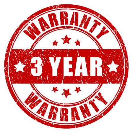 surety: Three year warranty, vector stamp