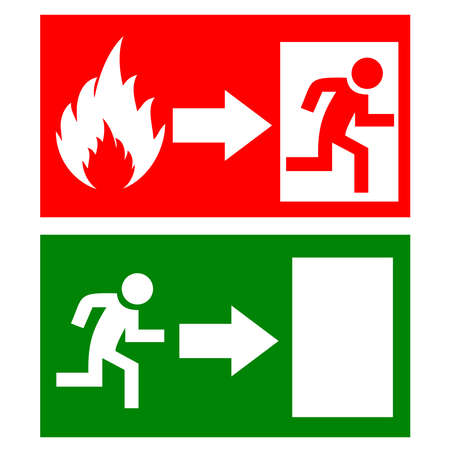 fire flames: Fire exit signs