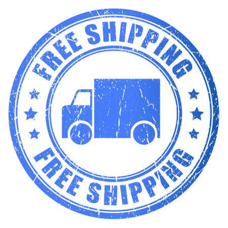 free illustration: Free shipping, stamp illustration