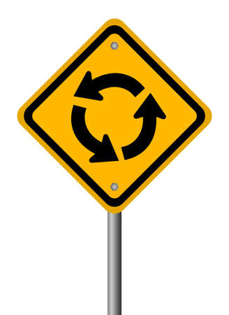 Traffic circle road sign Vector