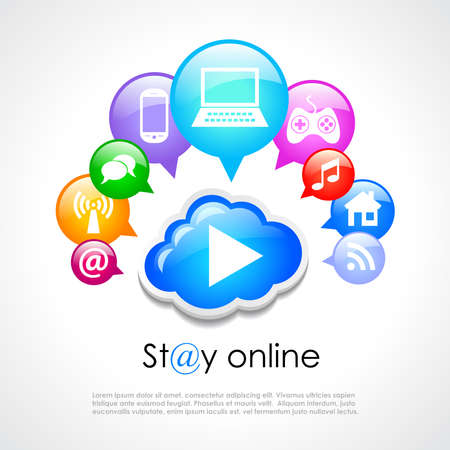 Stay online poster Stock Vector - 21076380