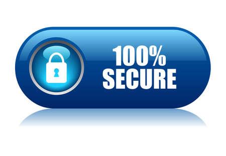 100 bouton sécurisé Banque d'images - 21550194