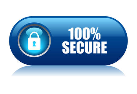 padlock icon: 100 secure button Illustration