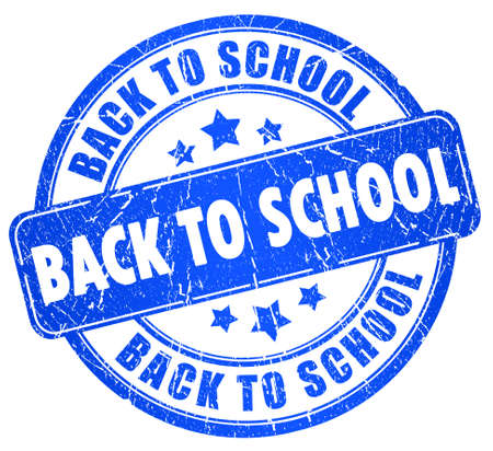 blue back: Back to school stamp Stock Photo