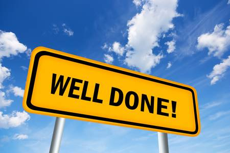 great success: Well done road sign Stock Photo