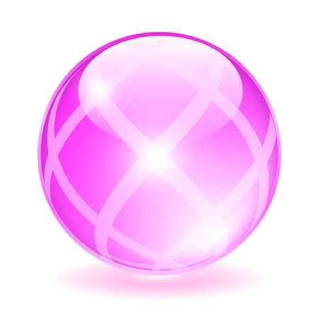 shiny button: Pink glass orb illustration Illustration