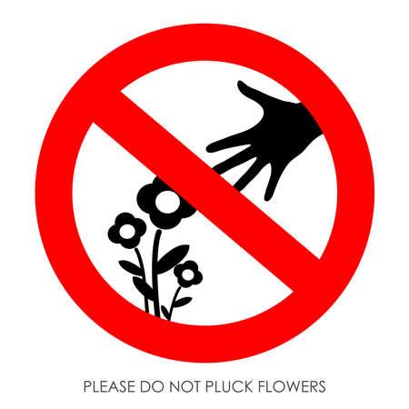 Do not pluck flowers sign Stock Vector - 21936861