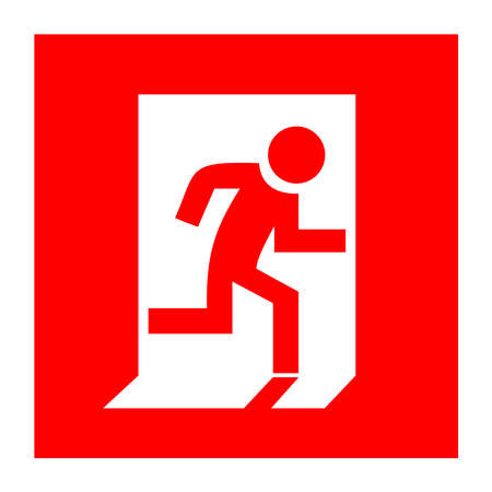 emergency exit sign icon: Fire exit red sign