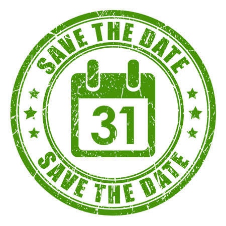 green dates: Save the date stamp