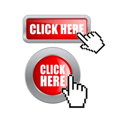 Haga clic aquí botones Ilustración de vector