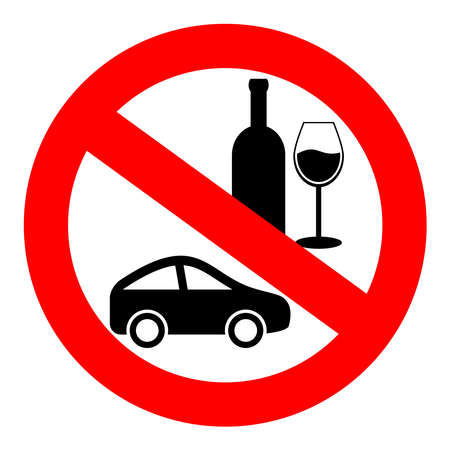 drinking: No drink and drive sign Illustration