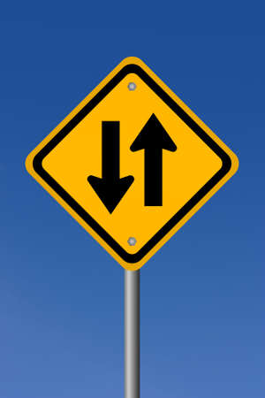 two way: Two way road sign illustration Stock Photo