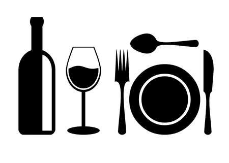 Dinner table accessories Vector