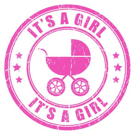 bebe a bordo: Es un sello de color rosa ni�a Vectores