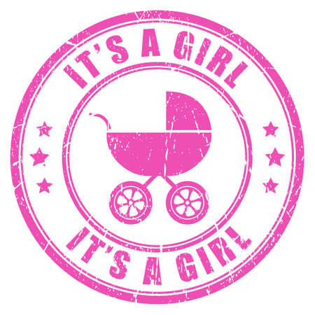 baby stickers: Its a girl pink stamp Illustration