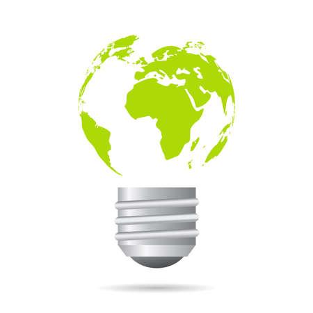 wereldbol groen: Groene energie pictogram Stock Illustratie