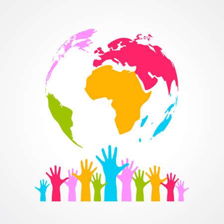 mundo manos: Color de cartel planeta Vectores
