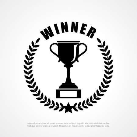 victory winner: Winner retro emblem Illustration