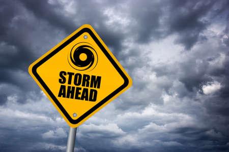 嵐の警告サイン 写真素材