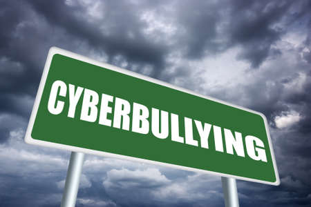 cyber bullying: Cyberbullying sign Stock Photo