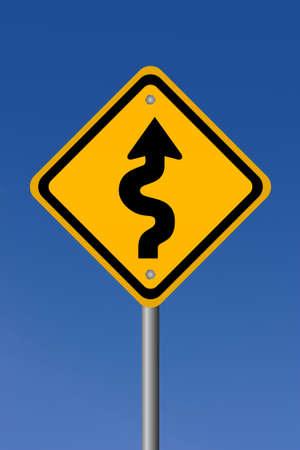 Curvy road sign Stock Photo