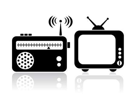 텔레비전 · 라디오 아이콘 일러스트