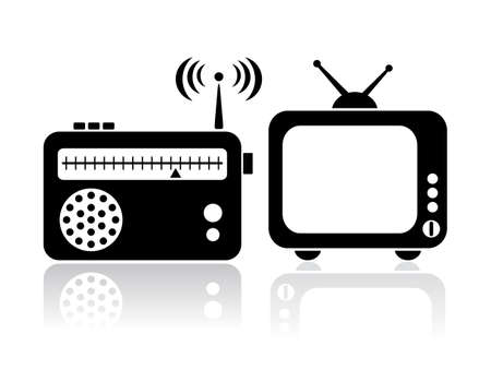 retro radio: Tv radio icons Illustration