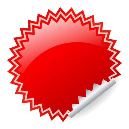Red shiny sticker Vector
