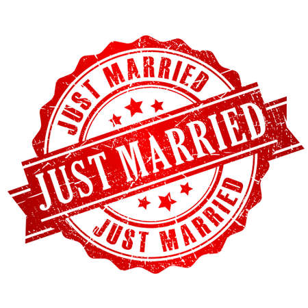 recien casados: S�lo se cas� con sello Vectores
