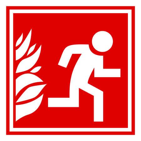 fuoco e fiamme: Fuoco evacuazione segno