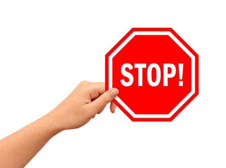 no entry sign: Hand with stop sign