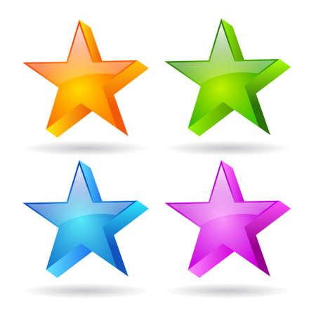 Glass stars set Vector