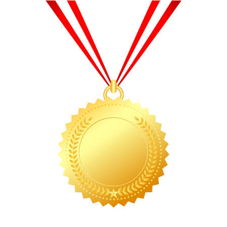 victory symbol: Gold medal with string