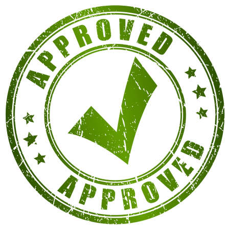 approved stamp: Approvato timbro tick Vettoriali
