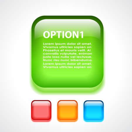 glass button: Glass vector option button Illustration