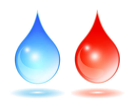 waterdrop: Hot cold water symbols Illustration