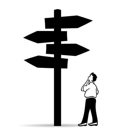 fork in the road: Guidepost, choose right way Illustration
